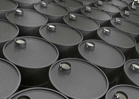 a tank: Industrial illustration several barrels of oil Stock Photo