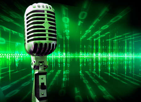 musical technology background with microphone and screen photo