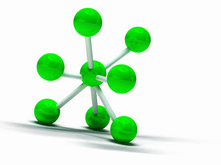 3d image of green molecular structure isolated in white photo
