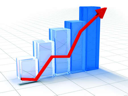 sales graph: 3D image statistics Stock Photo