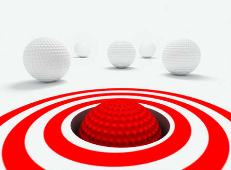 Conceptual 3d image of success with golf balls photo
