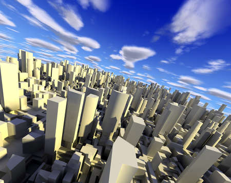 the center of the city: 3D ciudad con rascacielos, modernos edificios y cielo azul