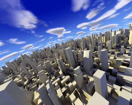3d city with skyscraper,modern buildings and blue sky photo