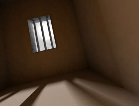3d arquitecture background with bars of a jail Stock Photo - 9301230