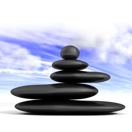 Zen concept with balanced rocks and blue sky photo