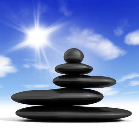 balanced rocks: Zen concept with balanced rocks and blue sky