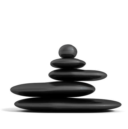 zen like: Balanced black stones isolated in white.Zen concept