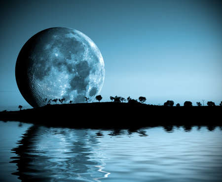 Night landscape with moon and lake