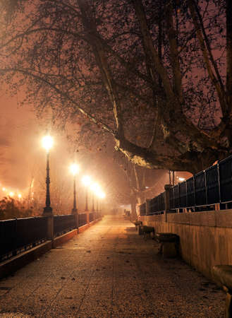 silent night: Walk with street lamps at night cityscape Stock Photo