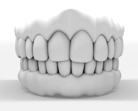 dentadura postiza: imagen 3D de blanca dentadura aislado en blanco