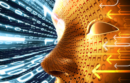 Technology concept with face and binary code Stock Photo - 9869200
