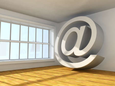 Surreal 3d image of symbol of internet  in interior