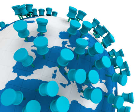 white pointer: Globe world map and Push Pins isolated in white