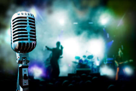 rock   roll: Illustration concert and vintage microphone
