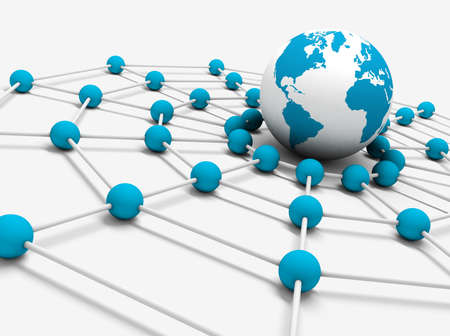 computer networking: Network concept with globe world map and net