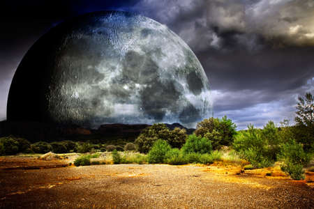 dreamscape with full moon  photo