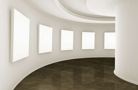 3d empty showroom with blank boxes photo