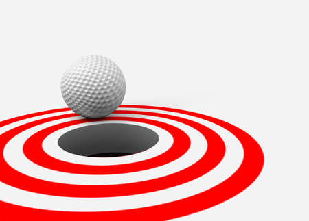 Conceptual 3d image with golf ball and hole