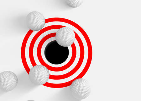 golf hole: Conceptual 3d image with golf balls and hole