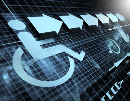 wheelchair access: Technology abstract background with symbol of accessibility and arrows Stock Photo