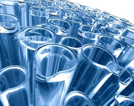 cristalería: Imagen en 3D de los tubos de ensayo en azul tono Foto de archivo