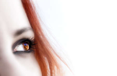 hypnotise: redhead girl  looking with copy space