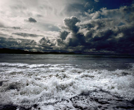 moody sky: Background ocean storm with waves and clouds