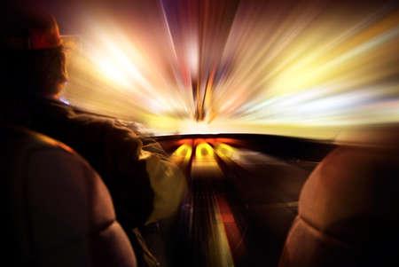 light speed: Concepto de velocidad en un coche Foto de archivo