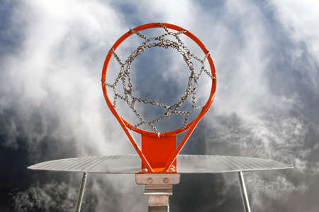 Abstract image of basketball goal against the sky Stock Photo - 9866875