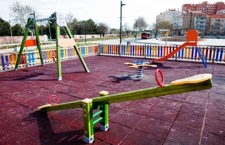 children playground: Empty children playground on the park Stock Photo