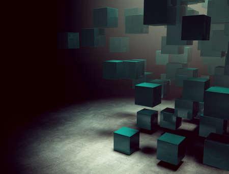 blindly: 3d interior oscuro con cubos