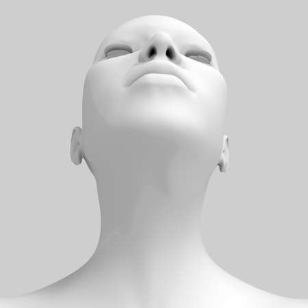 human neck: 3d image of woman s head  Stock Photo