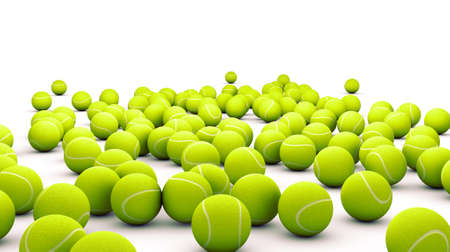 tenis: Muchos pelota de tenis aislado en blanco Foto de archivo
