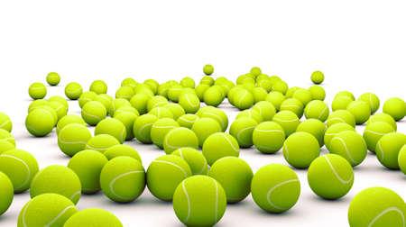 Viele Tennisball auf weiß isoliert Standard-Bild