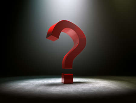 3d image of red question mark with dramatize spotlight photo
