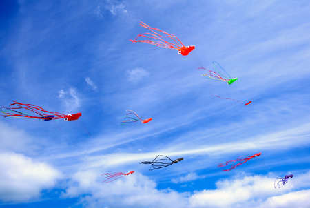 Colorful kites and blue sky photo