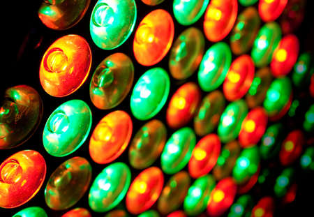 Close up image colored LED bulbs photo