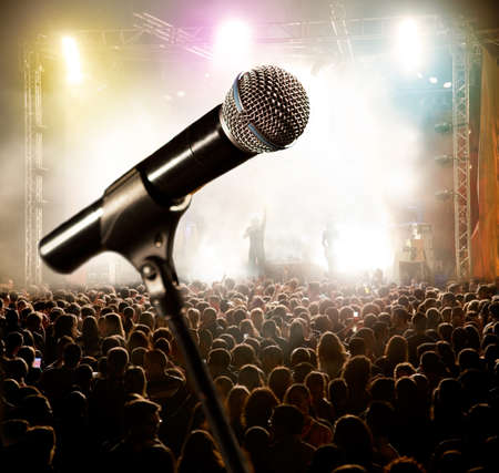 Live music background Microphone and public