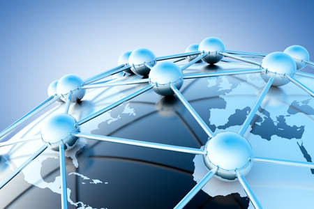 network server: Networking  and internet concept with globe world map