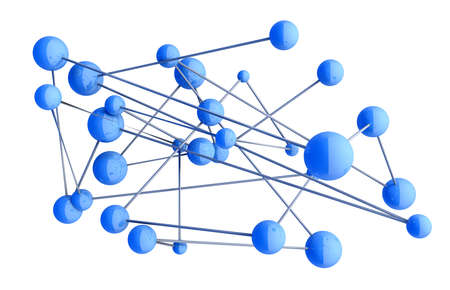 3d beeld van blauwe diagram.Networking en internet concept. Stockfoto