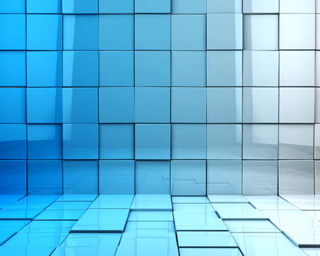 Abstract 3d cubes background in blue toned Stock Photo
