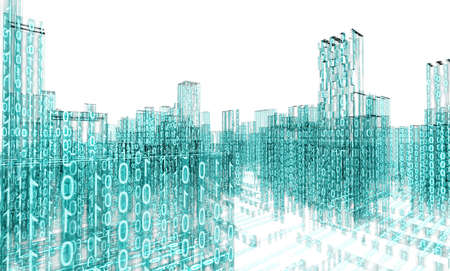 3d abstract architecture concept.Binary Language Stock Photo
