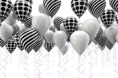 3d image of abstract black and white ballons Standard-Bild