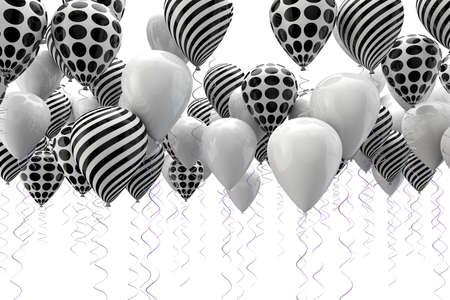 Immagine 3D di ballons astratti in bianco e nero Archivio Fotografico - 18586164