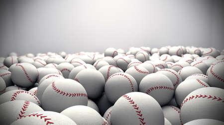 baseballs: Many 3d baseballs in a box,
