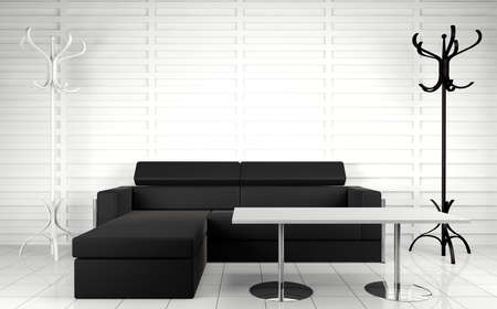 stateroom: 3d interior architecture.Modern sofa and table in black and white toned. Stock Photo