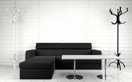 sala recepcyjna: 3d wnÄ™trza architecture.Modern kanapa i stolik w stonowanych czarno-biaÅ'y. Zdjęcie Seryjne