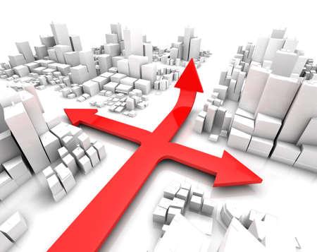strategic focus: 3d city and arrows.gps concept