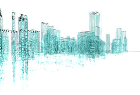 3d abstract architecture concept.Binary Language Banque d'images