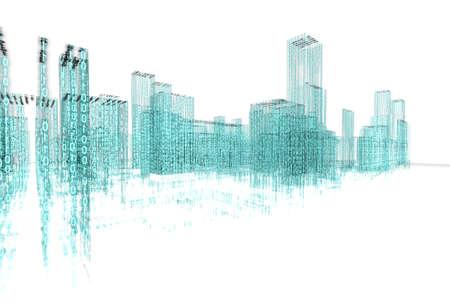 3d abstract architecture concept.Binary Language Archivio Fotografico